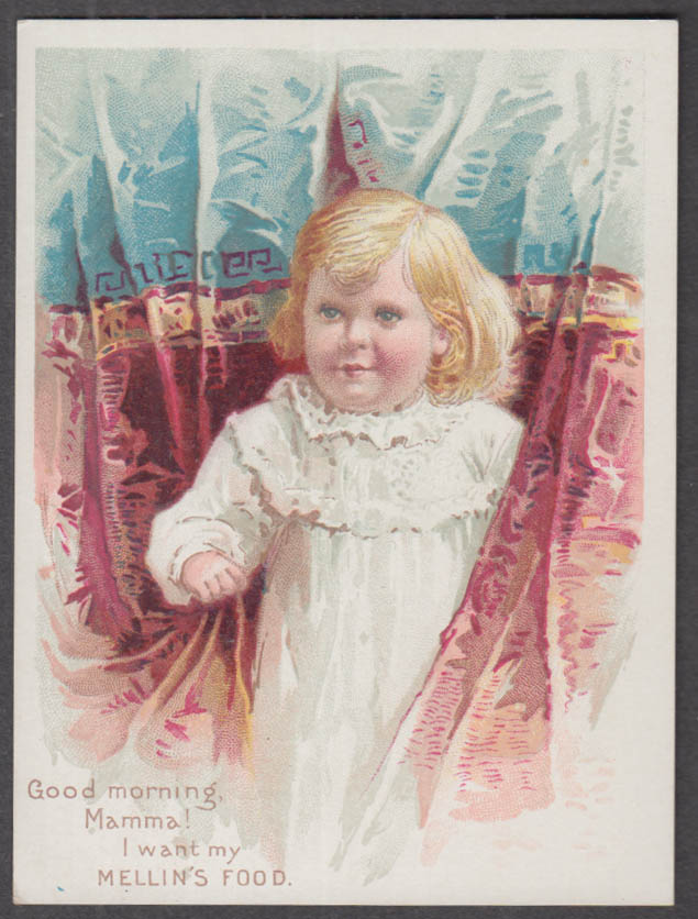 Image for Good Morning Mamma! I want Mellin's Food trade card 1880s Doliber-Goodale Boston