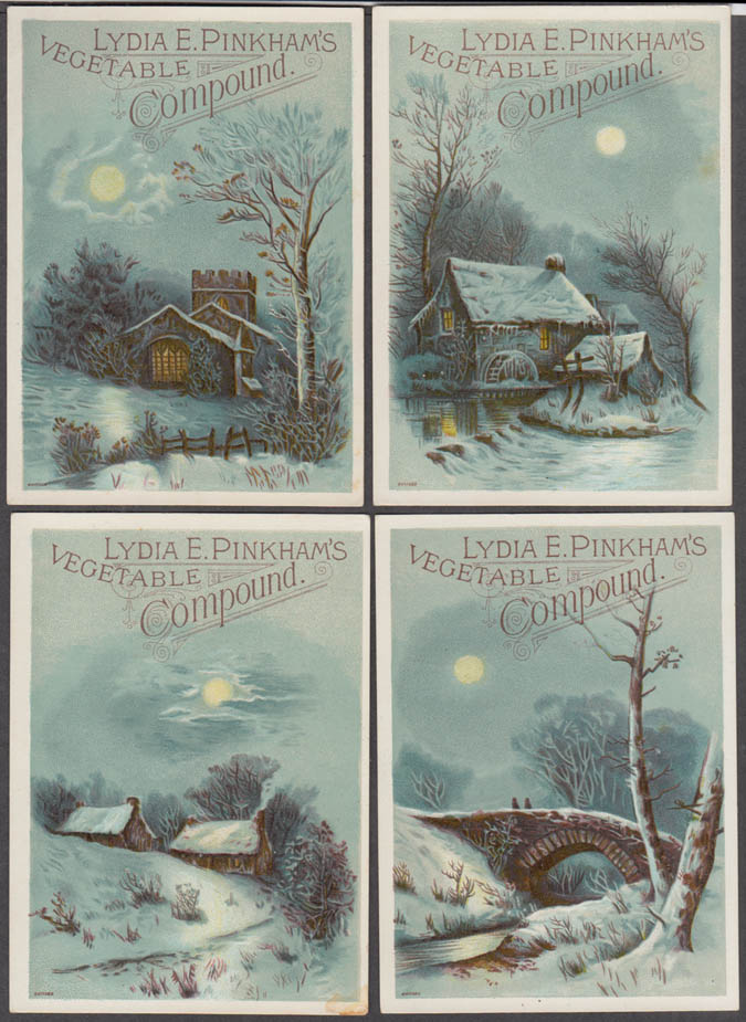 Image for Set of 4 Lydia E Pinkham's Vegetable trade cards 1880s winter scenes
