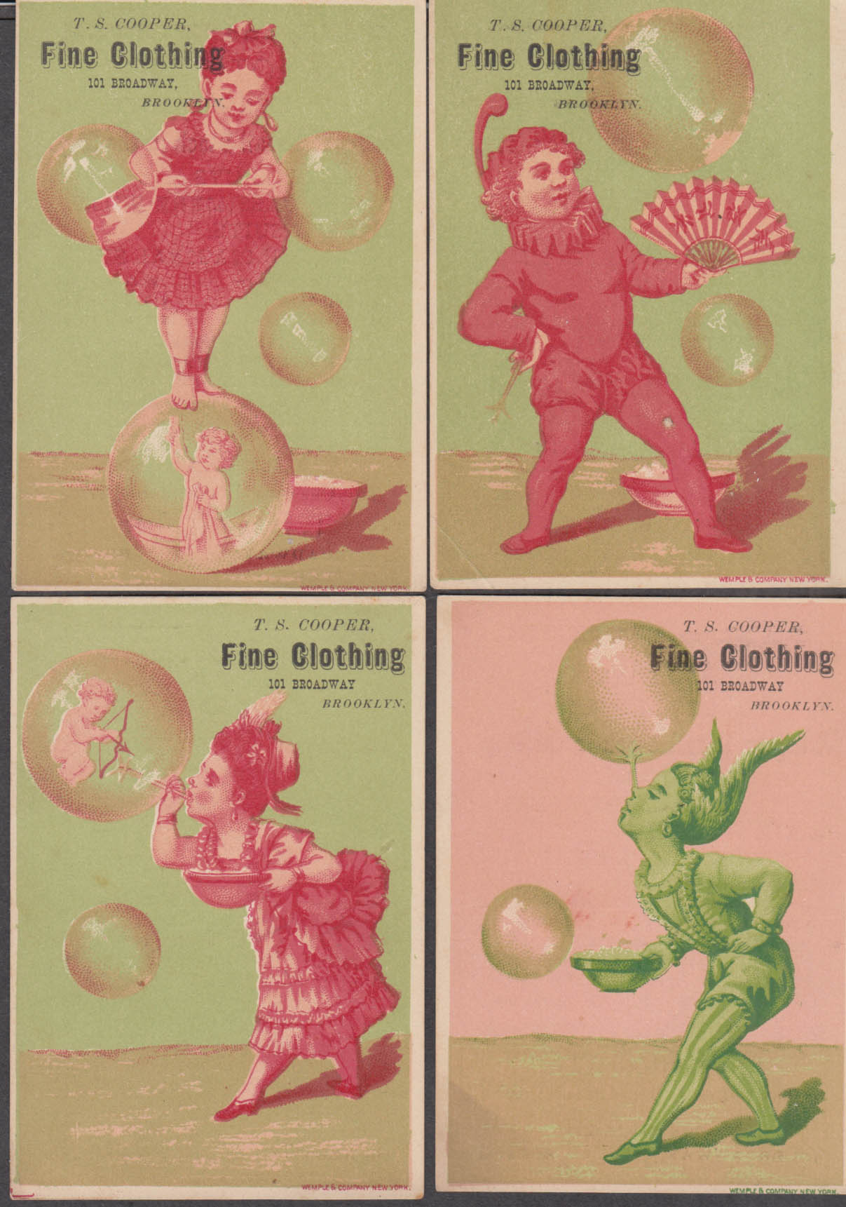 Image for FOUR T S Cooper Fine Clothing Brooklyn NY trade cards 1880s blowing bubbles