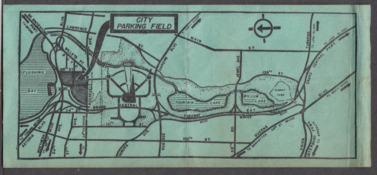 Image for New York World's Fair City Parking Field car location ticket 1939