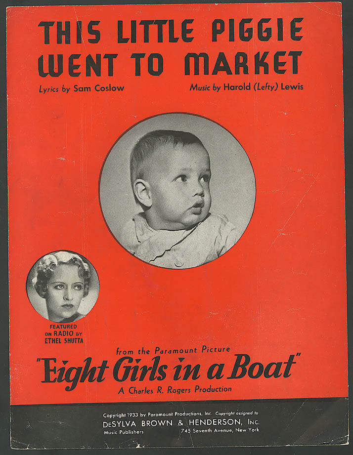 Image for This Little Piggie Went to Market movie sheet music 1933