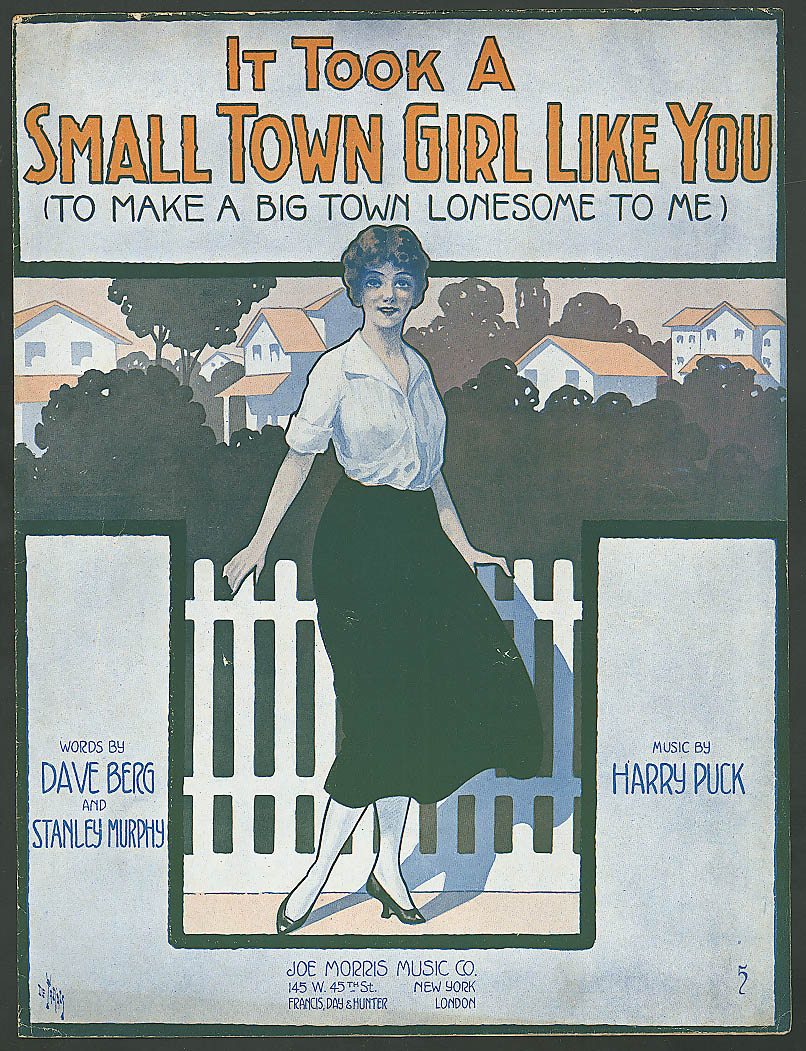 Image for It Took a Small Town Girl Like You pretty girl sheet music 1916