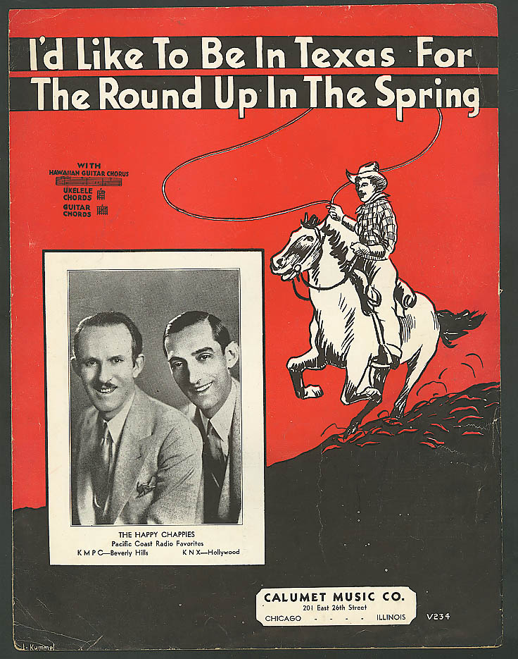 Image for I'd Like to Be in Texas for the Round Up sheet music 1935