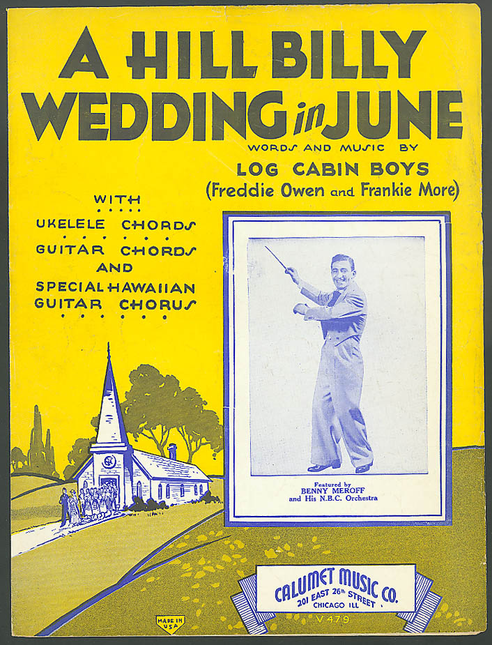 Image for Hill Billy Wedding in June sheet music Benny Meroff 1933