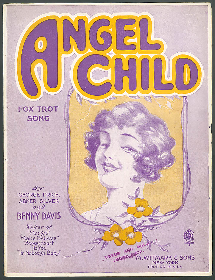 Image for Angel Child pretty girl sheet music Benny Davis 1922