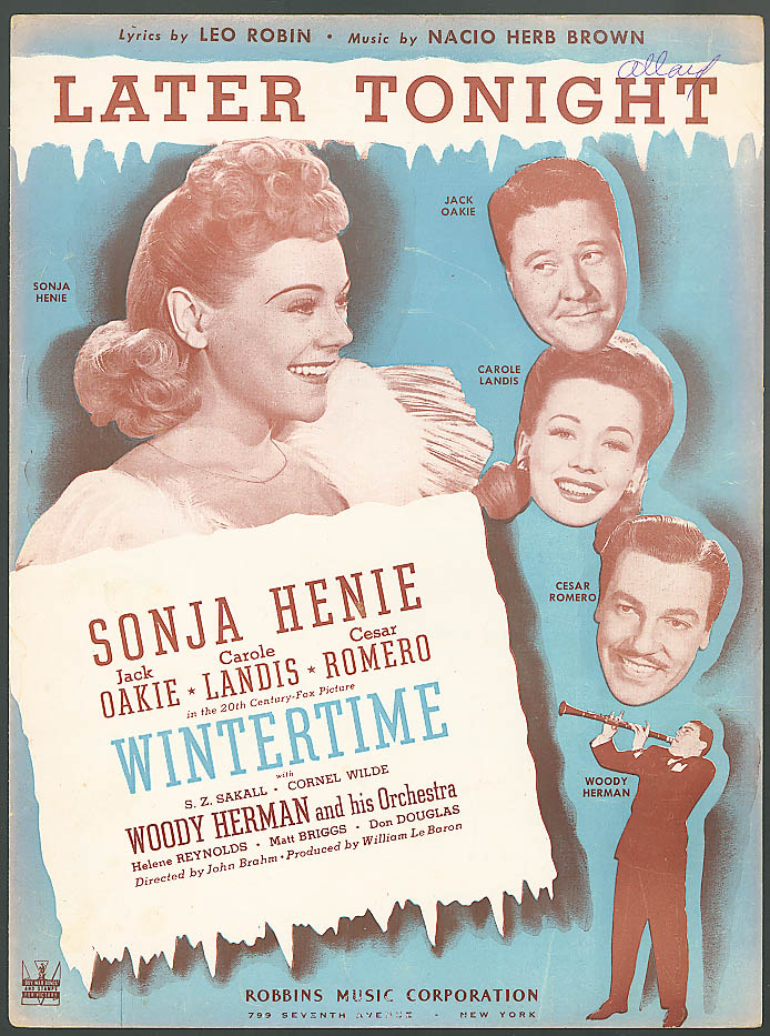 Image for Later Tonight movie sheet music Sonja Henie 1943