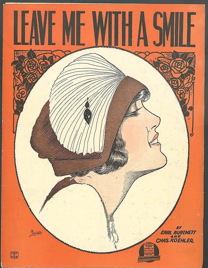 Image for Leave Me With a Smile pretty girl sheet music 1921