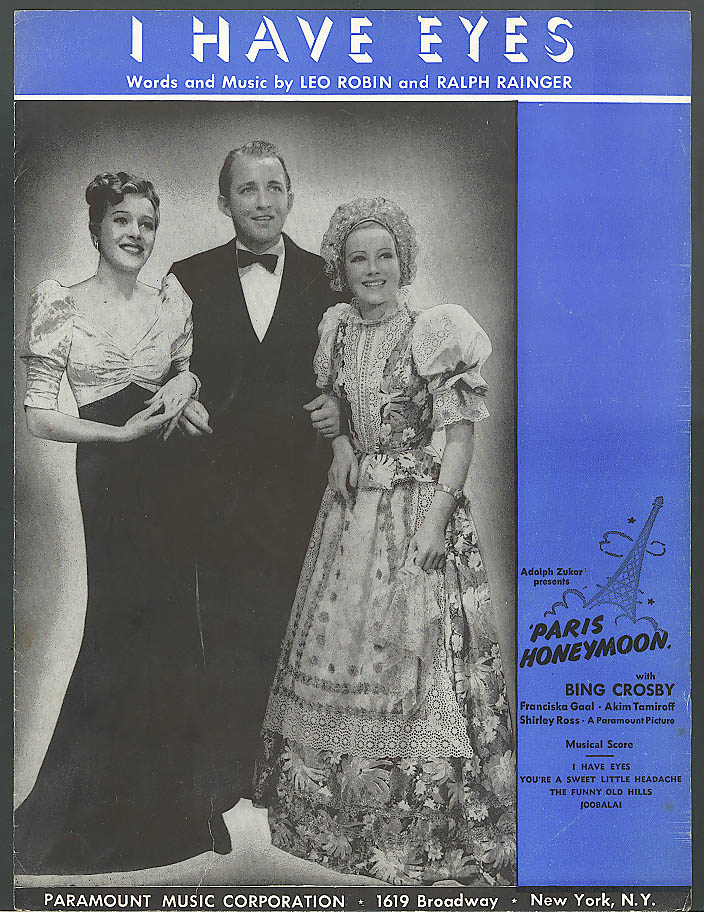 Image for I Have Eyes movie sheet music Bing Crosby 1938