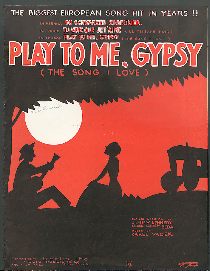 Image for Play To Me, Gypsy The Song I Love sheet music 1934
