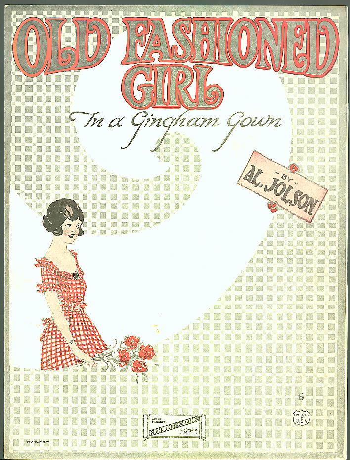 Image for Old Fashioned Girl Gingham Gown sheet music Jolson 1922