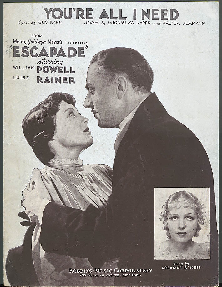 Image for You're All I Need movie sheet music Escapade 1935