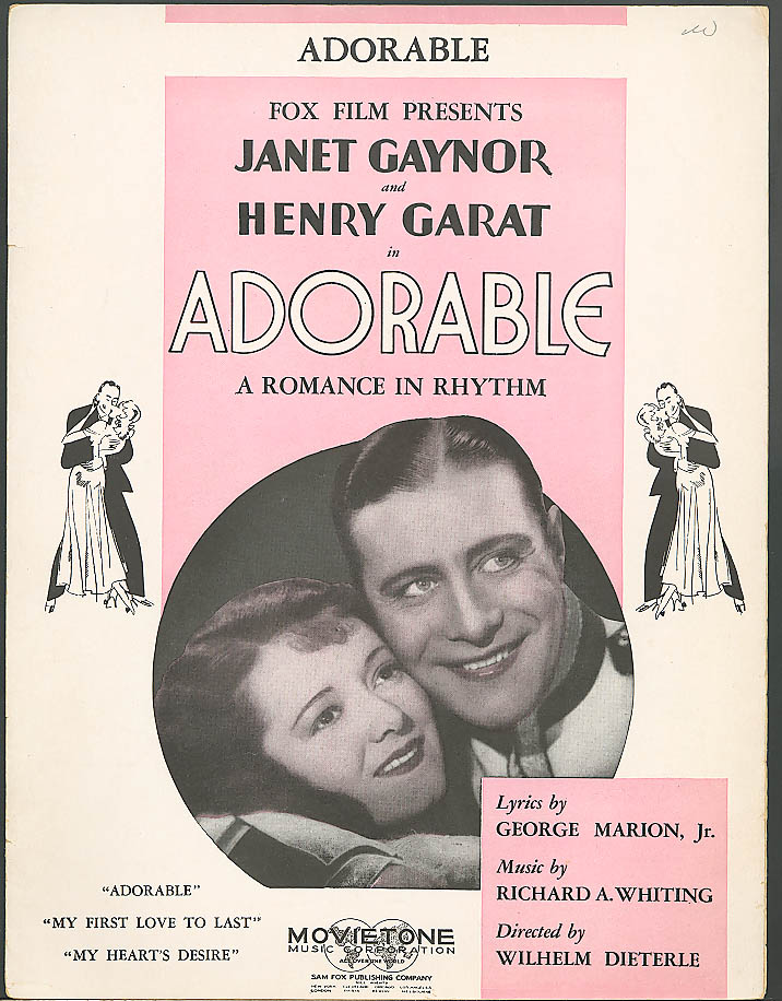 Image for Adorable movie sheet music Janet Gaynor 1933