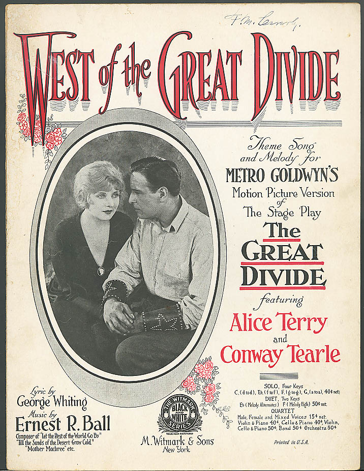 Image for West of the Great Divide movie music Alice Terry 1924