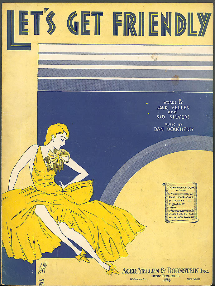 Image for Let's Get Friendly pretty girl sheet music 1931