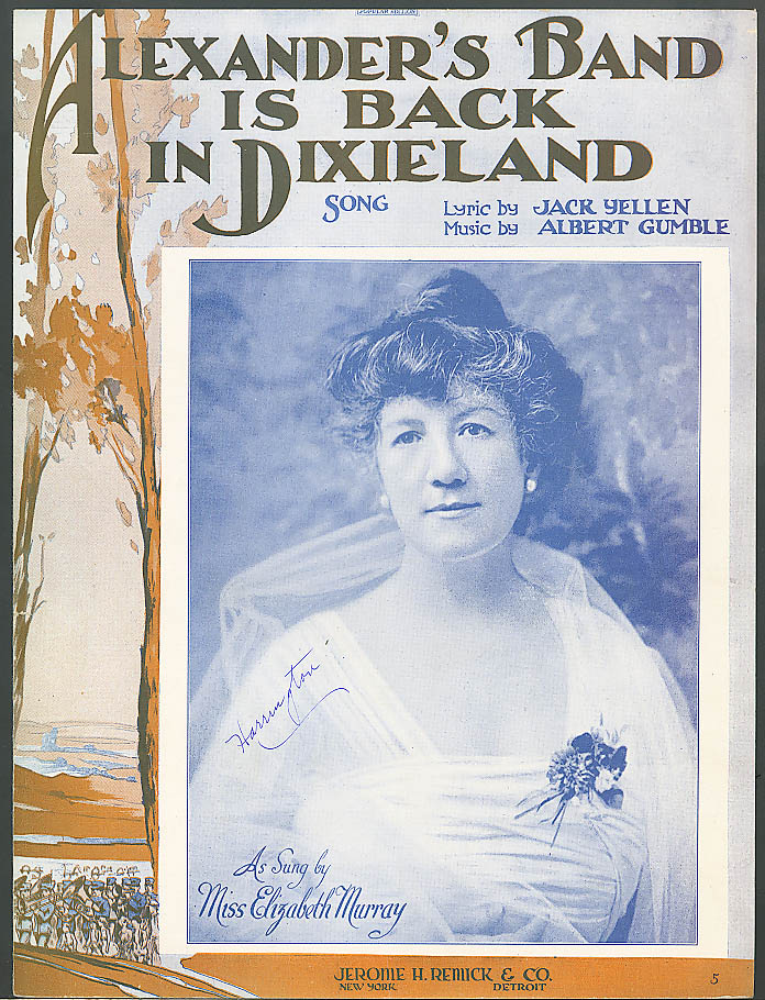 Image for Alexander's Band is Back in Dixieland sheet music 1919