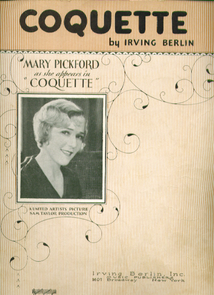 Image for Coquette 1928 Sheet music Mary Pickford