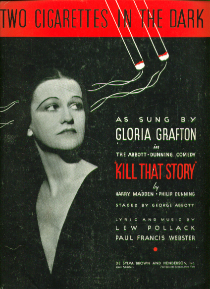 Image for Two Cigarettes in the Dark 1934 Sheet music