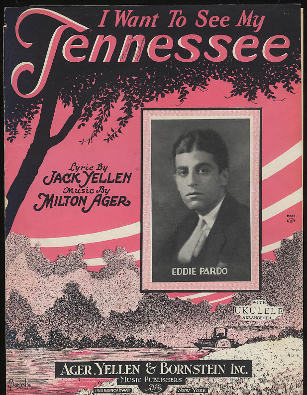 Image for I Want to See My Tennessee sheet music featured by Eddie Pardo 1924 Barbelle art