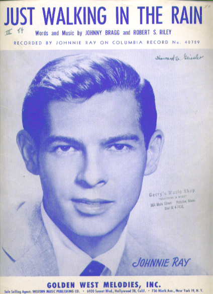 Image for Just Walking in the Rain sheet music 1953 Johnnie Ray