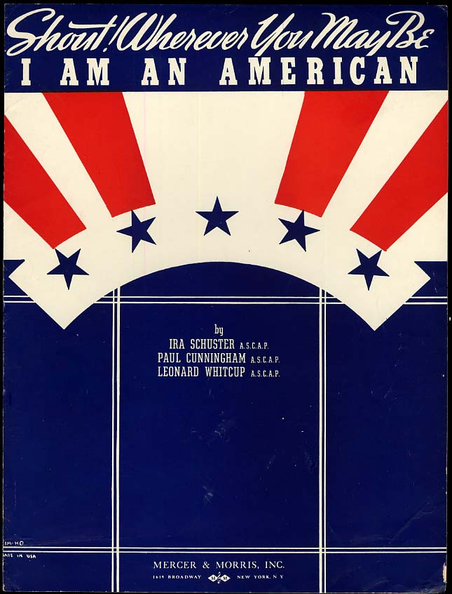 Image for Shout! Wherever You May Be - I Am An American sheet music 1940 World War II