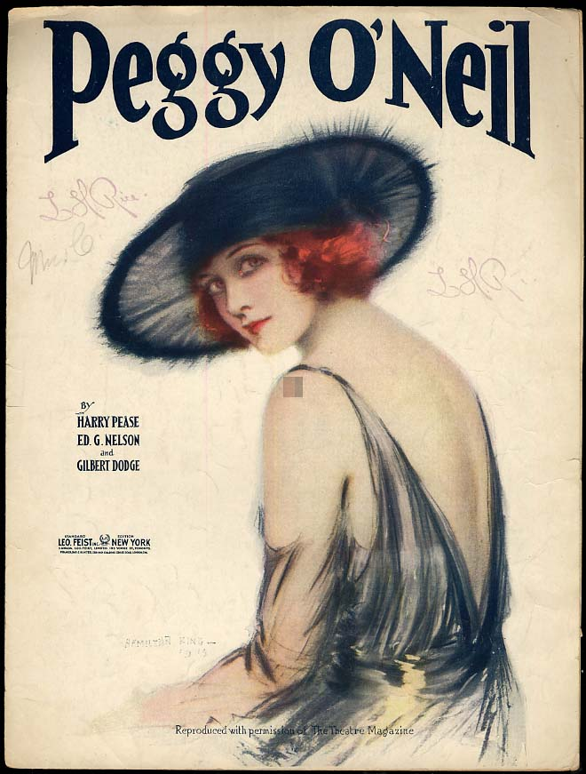 Image for Peggy O'Neil sheet music 1921 pretty girl cover by Hamilton King