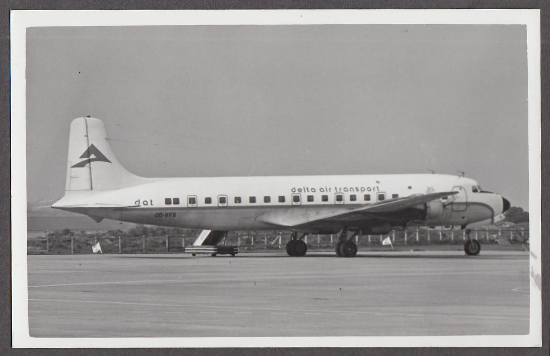 Image for Delta Air Transport Douglas DC-6 OO-VFG on tarmac photo ca 1950s