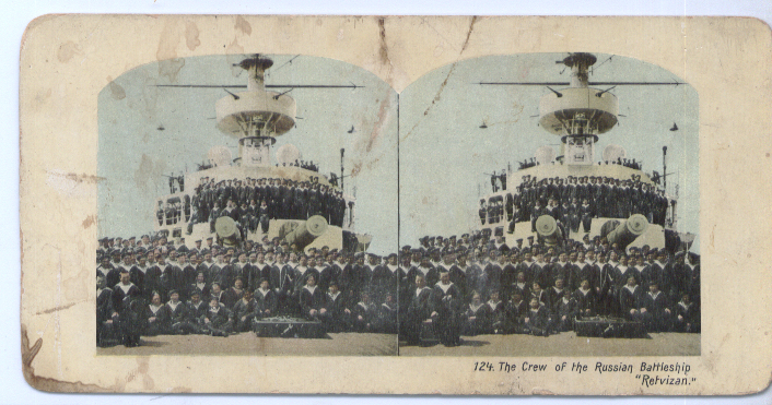Image for 1904 Stereoview Russian Battleship Retzivan