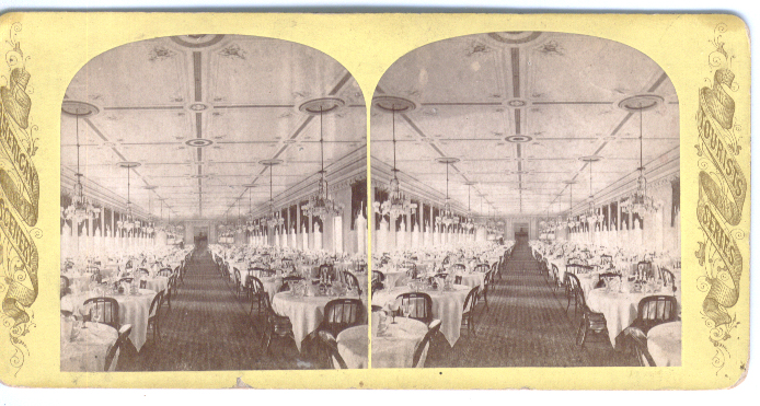 Image for 1870s Stereoview Grand Union Hotel Saratoga NY dining room