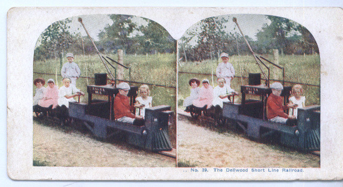 Image for 1900? Stereoview Dellwood Short Line RR Kids