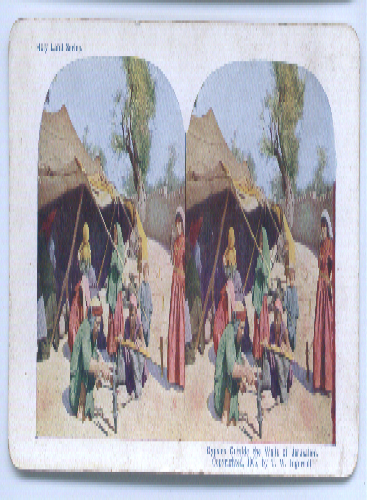 Image for Gypsies outside Jerusalem color stereo 1905