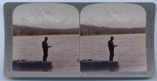 Image for 1904 Stereoview Fishing Mt. Hood Lost Lake OR