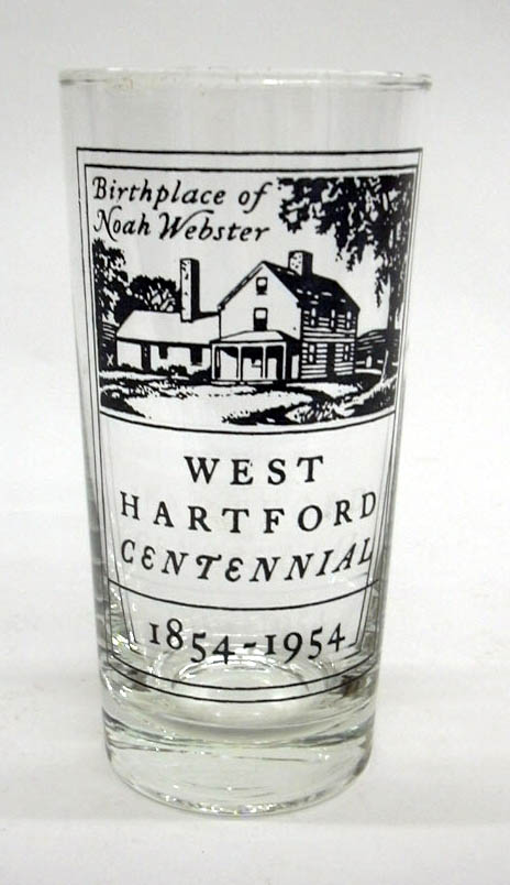 Image for West Hartford Connecticut Centennial drinking glass 1854-1954 Noah Webster House