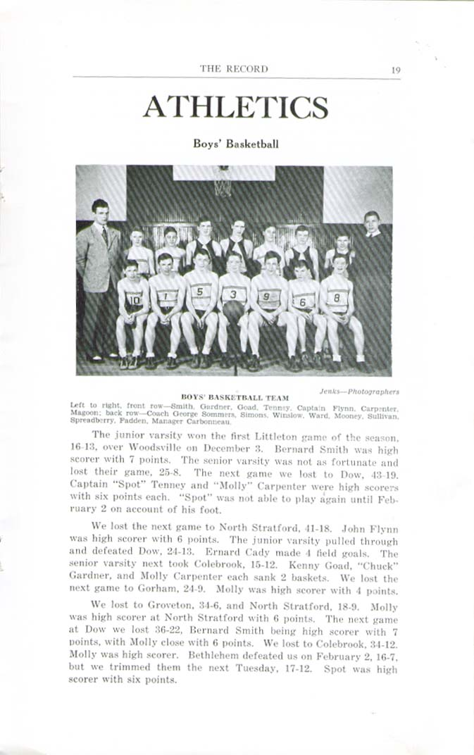 Image for The Record Littleton High School Littleton New Hampshire Winter 1941 Yearbook
