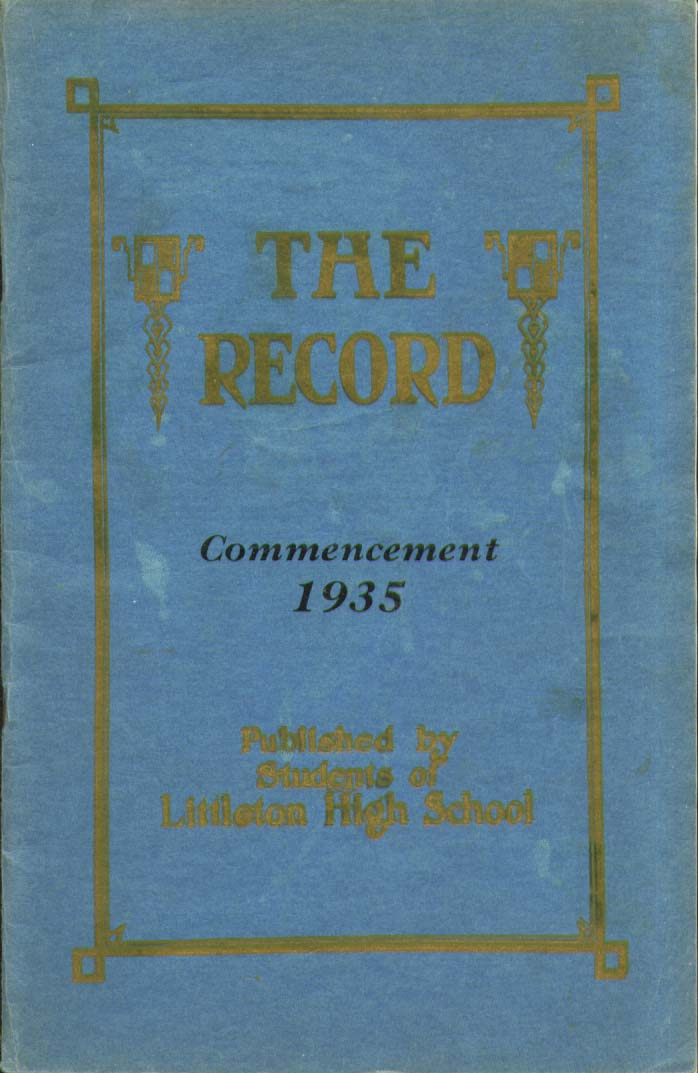 Image for Record Littleton High School Littleton New Hampshire Commencement 1935 Yearbook