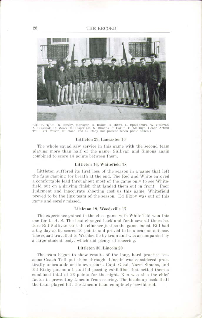 Image for The Record Littleton High School Littleton New Hampshire 1943 Yearbook