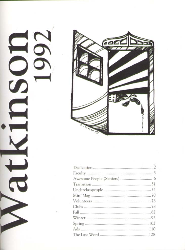 Image for Watkinson School Hartford CT 1992 Yearbook