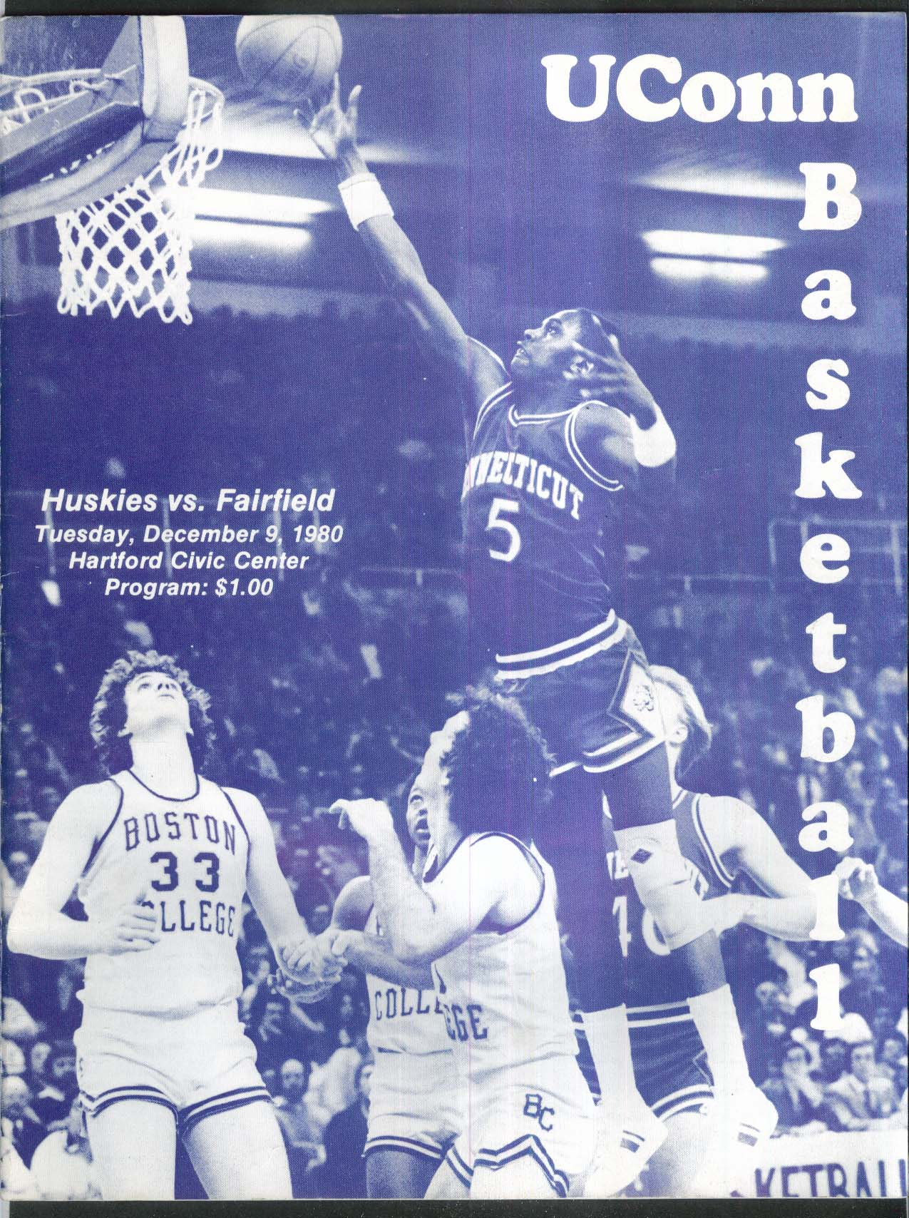 Image for Uconn Basketball Huskies vs Fairfield 12/9 1980 Hartford Civic Center Program