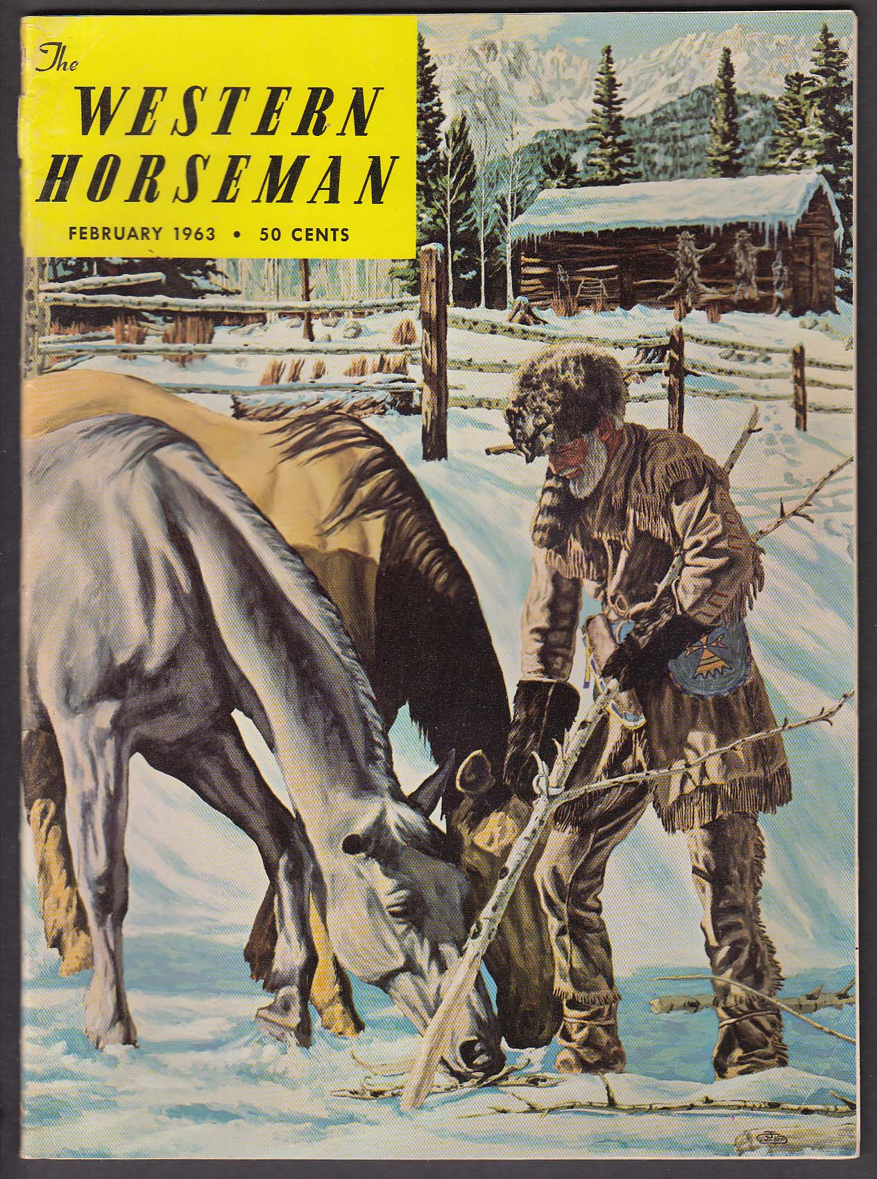 Image for WESTERN HORSEMAN Postal Horses Iron Snowshoes Will Rogers Jim Bridger + 2 1963
