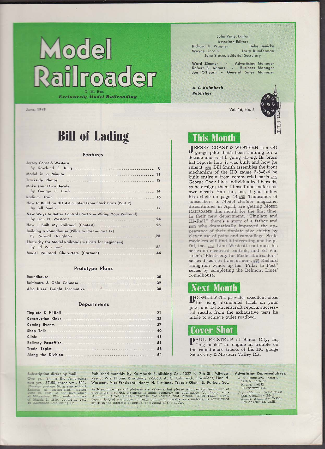 Image for MODEL RAILROADER HO Articulated Decals Electricity Roundhouse Diesel + 6 1949