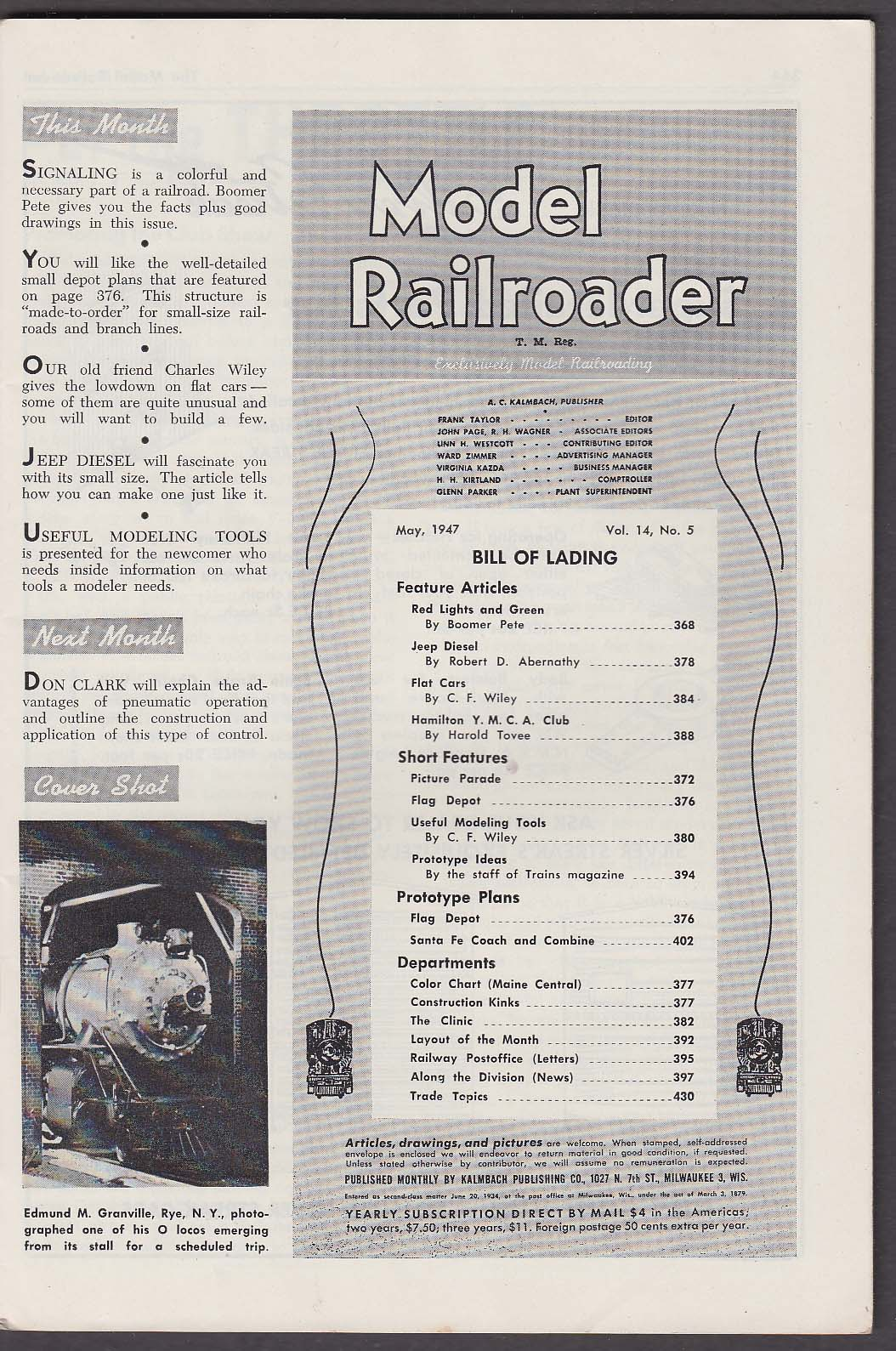 Image for MODEL RAILROADER Jeep Diesel Flat Cars Hamilton YMCA Club + 5 1947