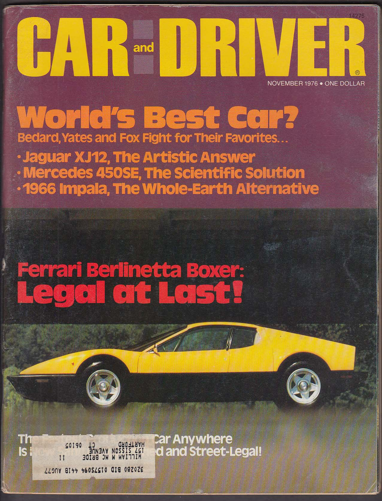 Image for CAR & DRIVER Ferrari Berlinetta Boxer Pinto Sports Rallye road tests ++ 11 1976