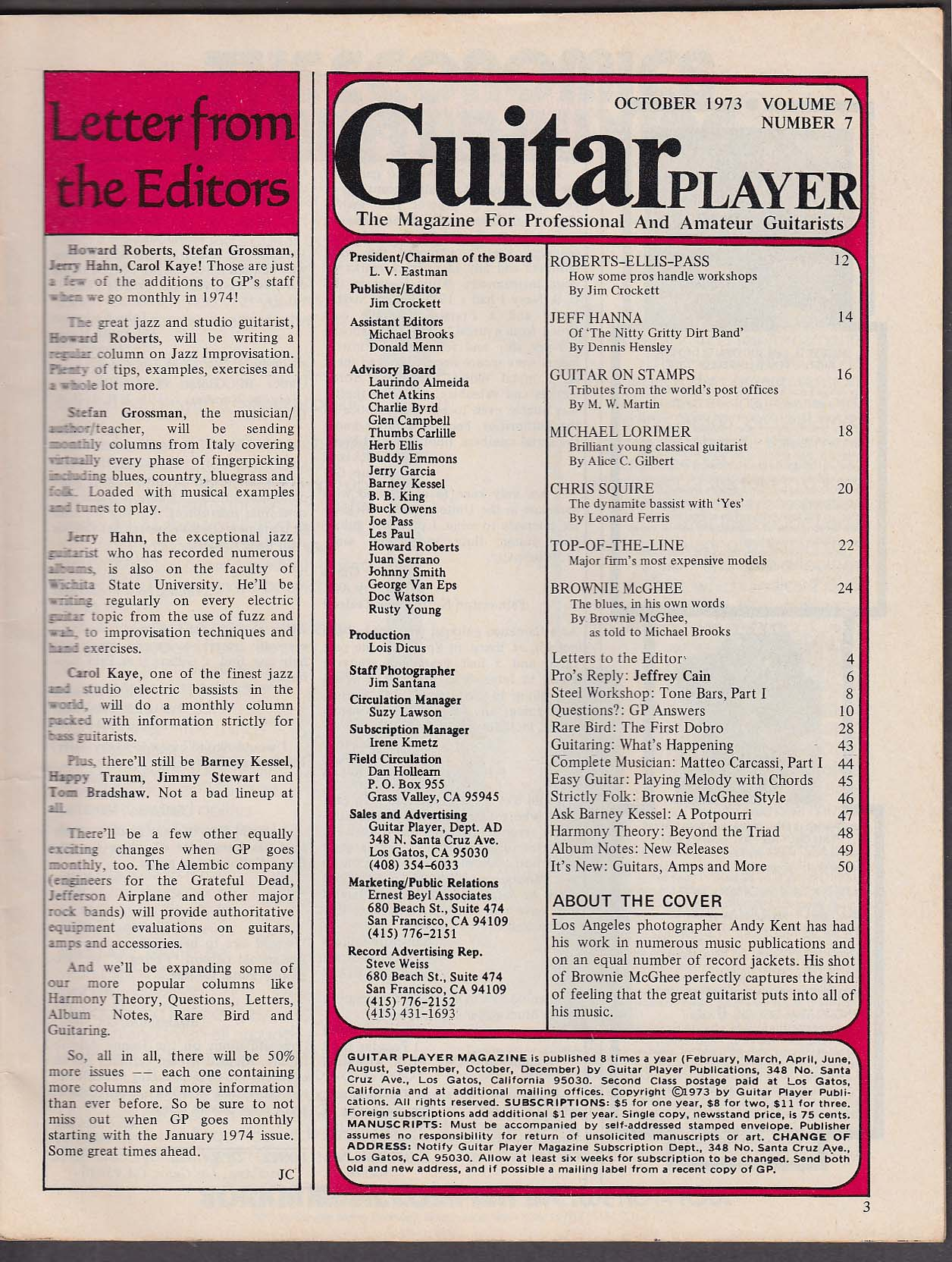 Image for GUITAR PLAYER Brownie McGhee Chris Squire Robets-Ellis-Pass ++ 10 1973