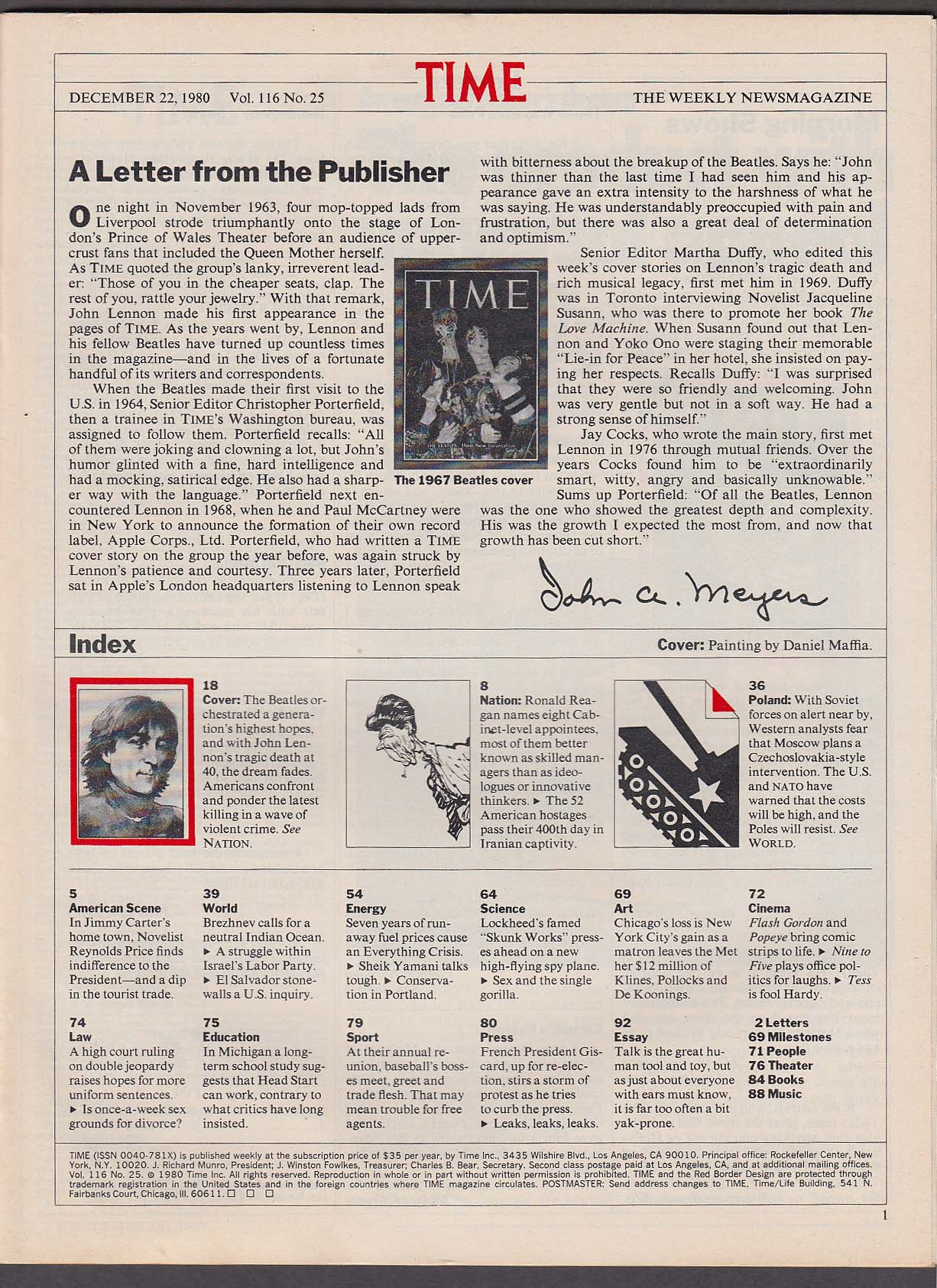 Image for TIME John Lennon Poland Ronald Reagan Chapman Afghanistan ++ 12/22 1980