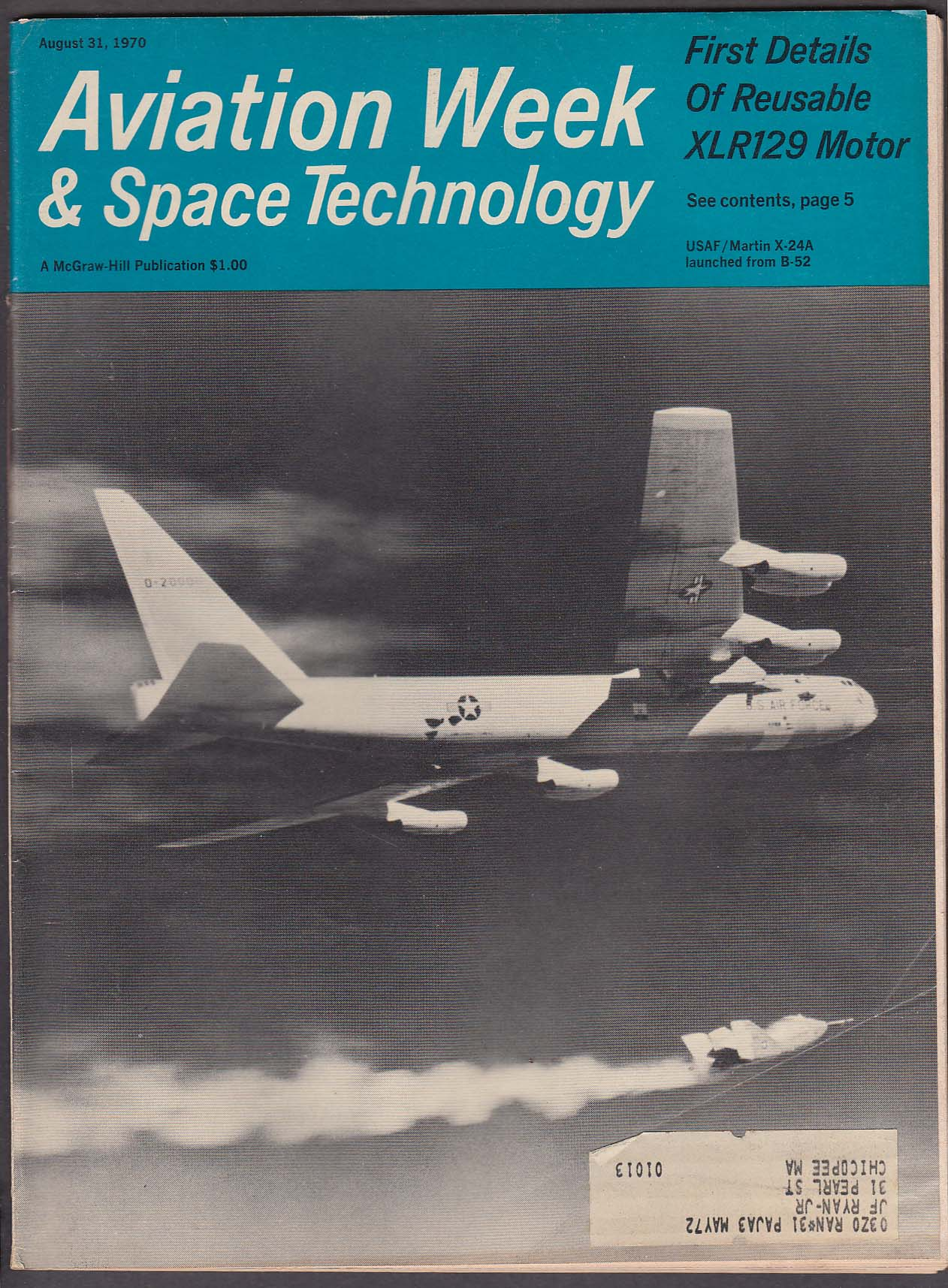Image for AVIATION WEEK & Space Technology XLR129 X-24A B-52 AH-56A DC-10 ++ 8/31 1970