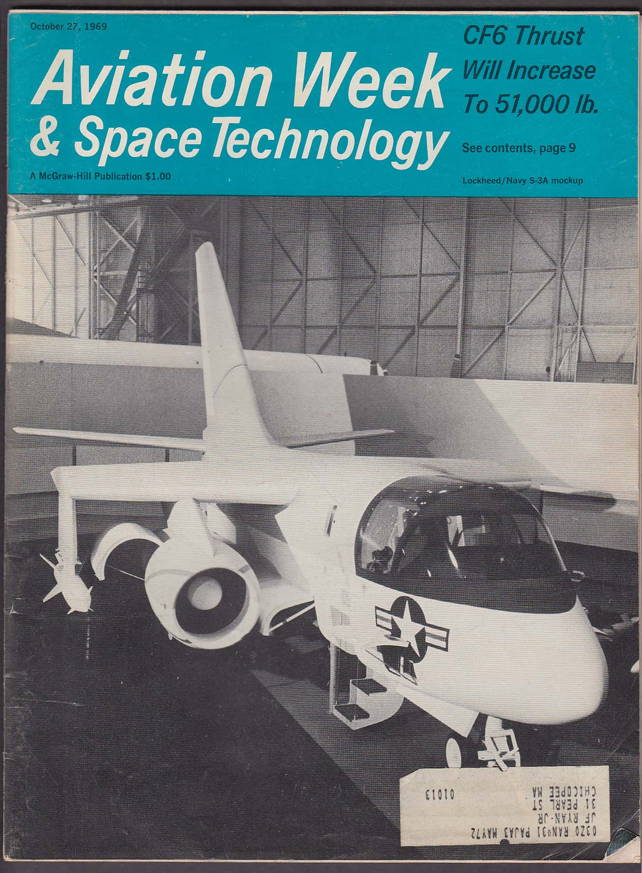 Image for AVIATION WEEK & Space Technology CF6 Soyuz Apollo 737 HueyCobra 10/27 1969