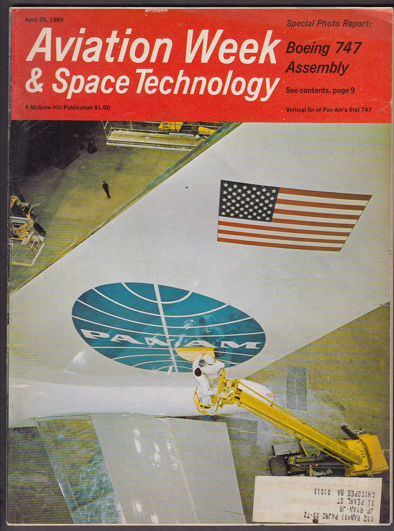 Image for AVIATION WEEK & Space Technology Boeing 747 Assembly Apollo Lockheed + 4/28 1969