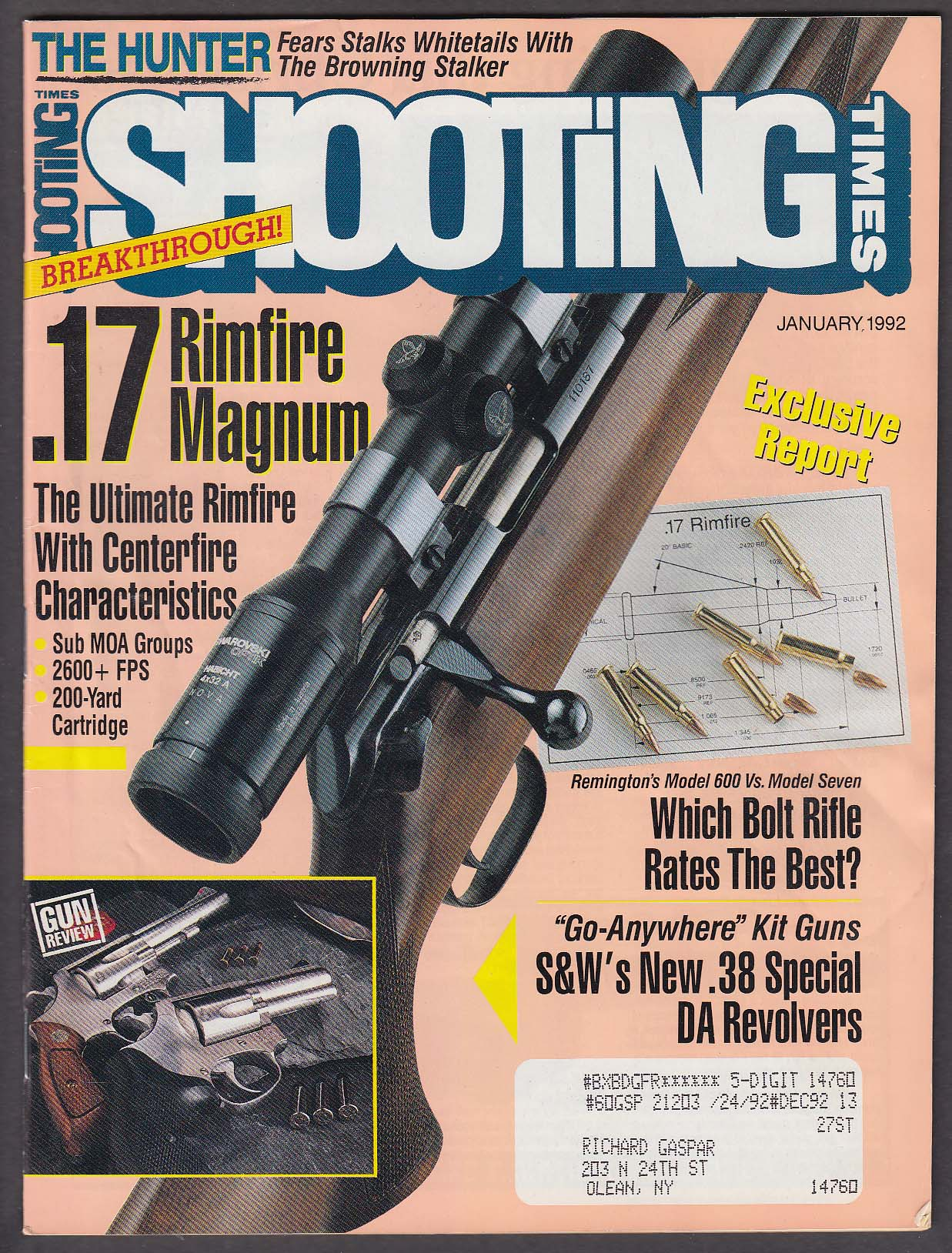 Image for SHOOTING TIMES Smith & Wesson Remington 600 vs Model 7 McMillan Standard 1 1992