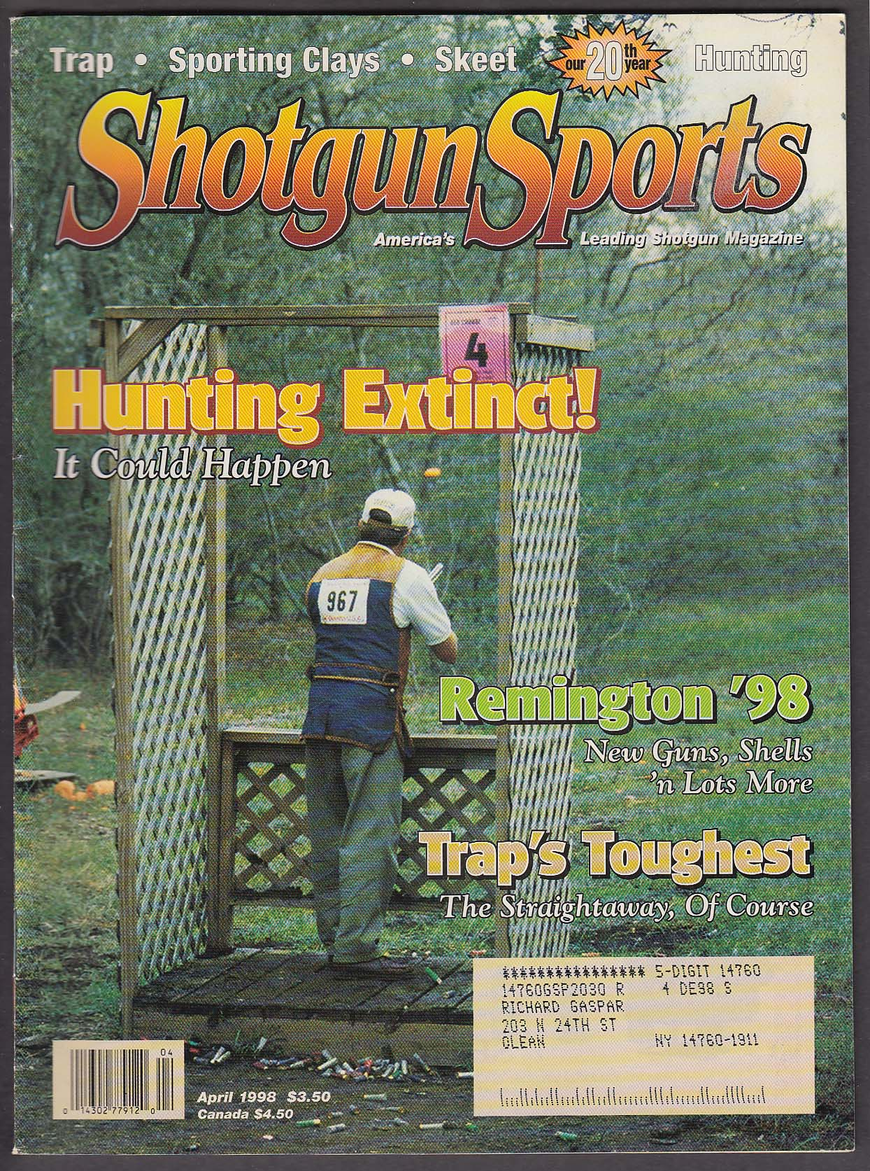 Image for SHOTGUN SPORTS Remington ZZ Skeet 1890s Sporting Guns + 4 1998