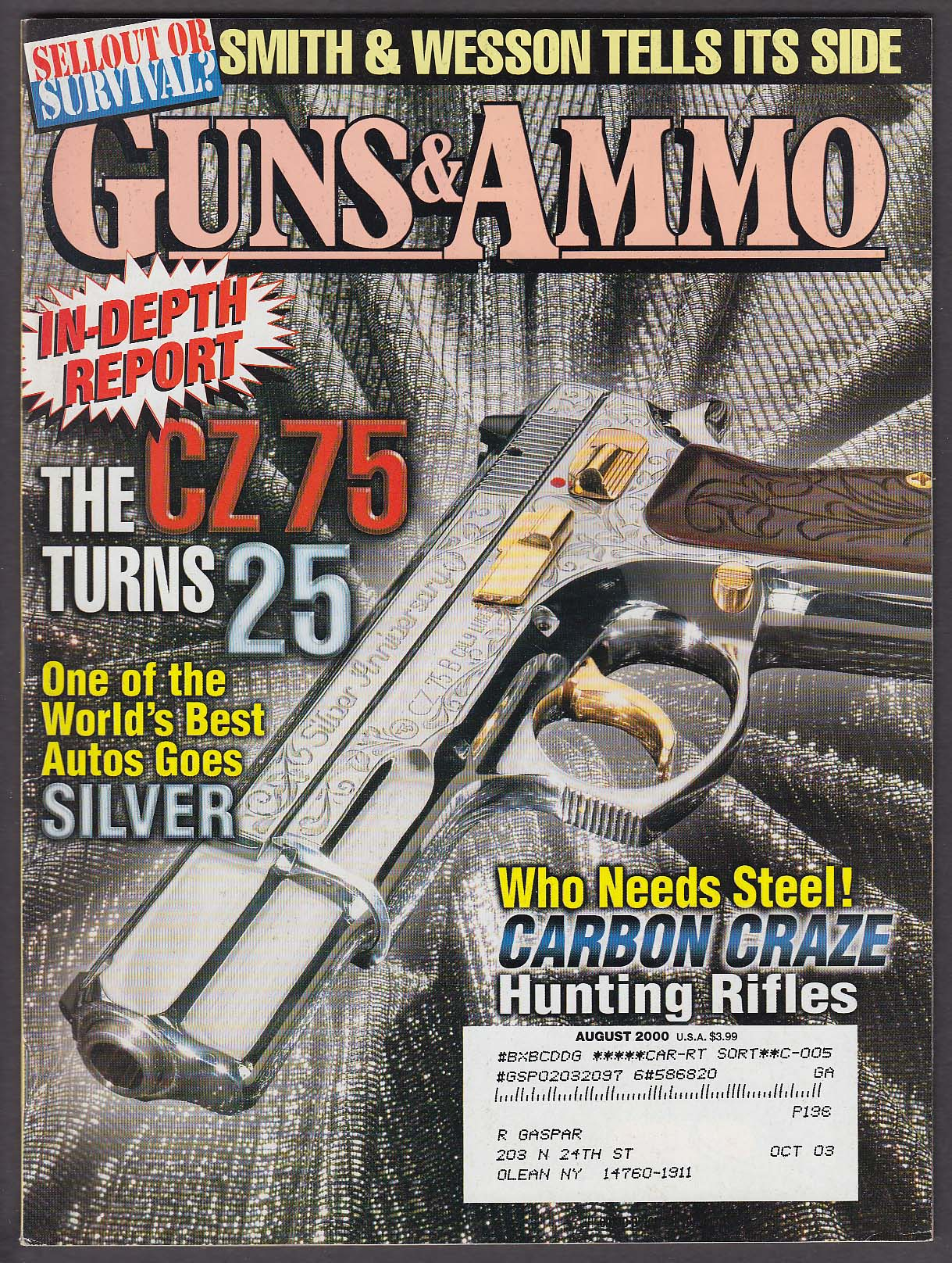 Image for GUNS & AMMO CZ 75 Smith & Wesson Weatherby .264 Winchester Magnum 8 2000