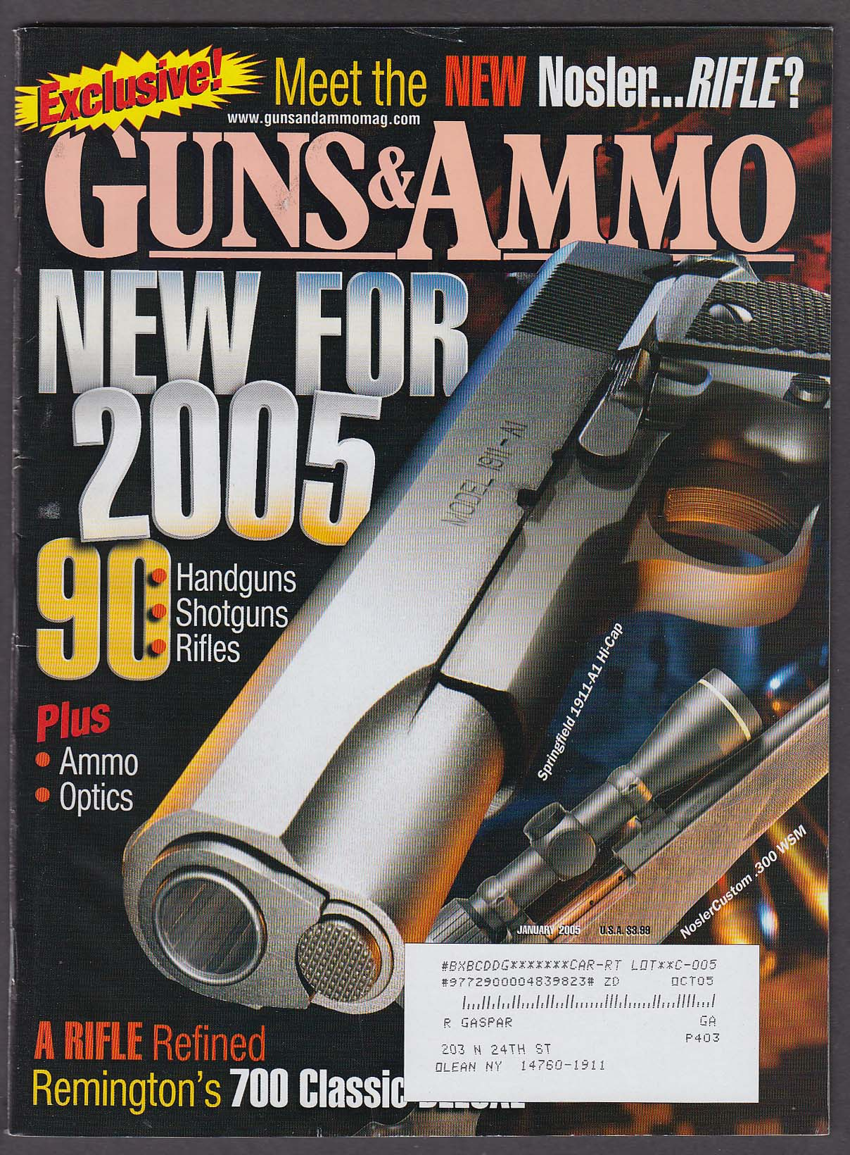 Image for GUNS & AMMO Springfield 1911-A1 Nosler Custom .300 WSM Remington 700 + 1 2005